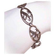 Modernist STERLING SILVER Bracelet - Link, Charm, Stylized Leaf, Holiday Gift