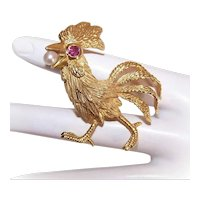 Modernist 18K Gold Ruby Cultured Pearl Pin French Chanticleer Coq d'Or Rooster
