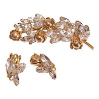 Unsigned Clear Rhinestone Gold Tone Metal Pin/Brooch with Matching Earrings
