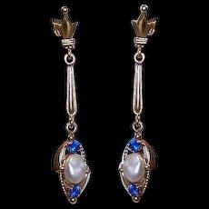 ART DECO 14K Gold, Mississippi River Pearl & Blue Topaz Drop Earrings!