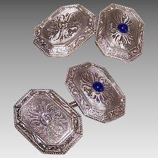 ART DECO 14K Gold Cufflinks -  .10CT TW, Diamond, .12CT TW, Cab Sapphire, Guilloche Top