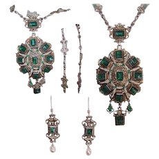 C.1880 AUSTRO HUNGARIAN Silver Gilt, Emerald Paste & River Pearl Jewelry Set - Necklace & Earrings!
