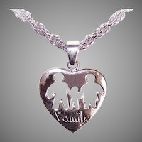 Sterling Silver Heart Pendant Family