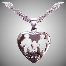 Vintage STERLING SILVER Heart Pendant - Cut Out Center with FAMILY!