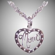 Vintage STERLING SILVER Heart Pendant - Cut Out Center with MOM!