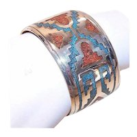 Southwestern Sterling Silver Turquoise Coral Cuff Bracelet