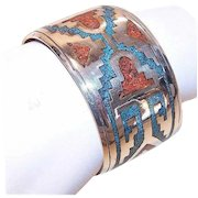 Vintage NATIVE AMERICAN Sterling Silver, Crushed Turquoise & Coral Cuff Bracelet!