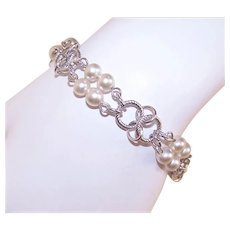 Unsigned Silver Tone Faux Pearl Costume Charm Bracelet