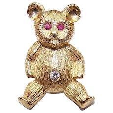 ESTATE 18K Gold Pin - Teddy Bear Pin - .18CT TW Diamonds & Rubies - Designer Lookalike