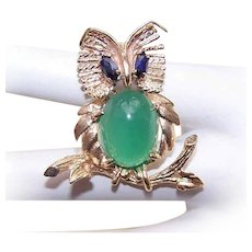 Vintage 14K GOLD Pin - Wise Old Owl, Sapphire, Green Chalcedony, Brooch