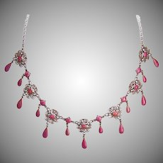 Art Nouveau 930 SILVER Necklace - Marius Hammer, Norway, Pink Enamel, Filigree Drop, Rare