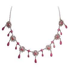 Rare Art Nouveau MARIUS HAMMER Necklace - 930 Silver & PINK Enamel - Filigree Drop Necklace