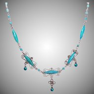 Signed MARIUS HAMMER 930 Silver & Enamel Necklace with Turquoise Heishe!