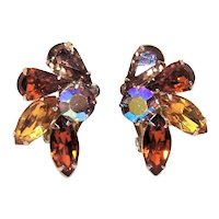 Coro Gold Tone Metal Brown Rhinestone Clip Earrings