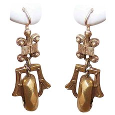 VICTORIAN REVIVAL 14K Gold Earrings - Etruscan, Drops, Pierced, Hooks