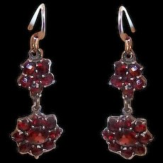 ANTIQUE VICTORIAN Bohemian Garnet Drop Earrings with Gold Filled Earwires!