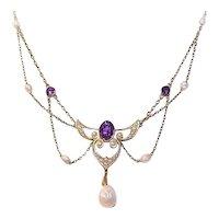 Antique Edwardian Art Nouveau 14K Gold Amethyst Festoon Necklace