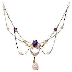 Art Nouveau 14K Gold Amethyst Necklace