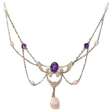 ART NOUVEAU 14K Gold, Amethyst & Natural Pearl Festoon Necklace!