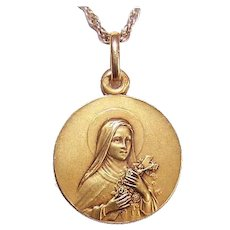 Art Deco FRENCH 18K Gold Religious Medal - Saint Therese * St Thérèse of Lisieux!