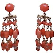 ANTIQUE EDWARDIAN 14K Gold & Natural Salmon Coral Drop Earrings!