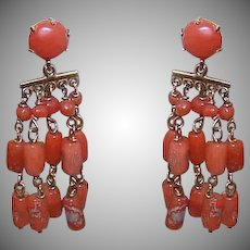 Antique 14K Gold Salmon Coral Earrings