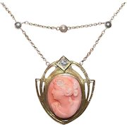 ART NOUVEAU 14K Gold, .10CT Diamond, Pearl & Carved Coral Cameo Festoon Necklace!