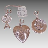 3 Vintage MONET Silver Tone Metal Charms - Tennis Racquets, Happy Birthday Heart & Our Girl Disc!