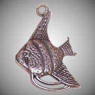 Sweet Vintage STERLING SILVER Charm - Angel Fish!