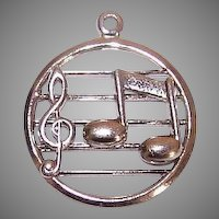 Beau Sterling Silver Charm - Treble Clef with Single Musical Note