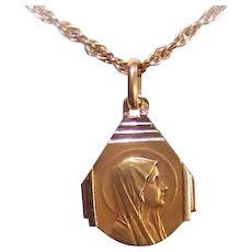 C.1930 FRENCH 18K Gold Religious Medal - Holy Virgin Mary!