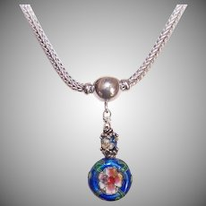 """Vintage STERLING SILVER 16"""" Foxtail Chain with Silver & China Enamel Beads!"""