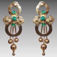 ANTIQUE GEORGIAN 18K Gold Earrings - Emerald Green, Glass, Paste, Drop Earrings, Dangles