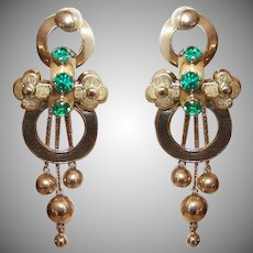 ANTIQUE GEORGIAN 18K Gold Earrings - Emerald Green, Glass, Paste, Drop Earrings, Dangles