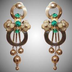 Georgian 18K Gold Emerald Paste Earrings