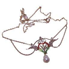 Art Nouveau 14K Gold Enamel Necklace