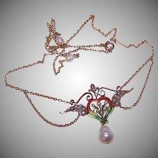 Art Nouveau 14K Gold Enamel Natural Pearl Festoon Necklace