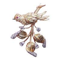 Estate 14K Gold 1.72CT TW Diamond Ruby Bird on Branch Pin Brooch
