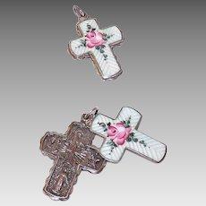 Vintage STERLING SILVER & Enamel Religious Cross Pendant - Slider Pendant with Pink Rose!