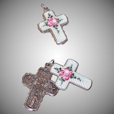 Vintage STERLING SILVER & Enamel Religious Cross Pendant - Slider Pendant with Pink Rose!
