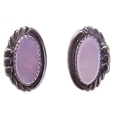 Vintage NATIVE AMERICAN Sterling Silver & Pink Mother of Pearl Pierced Earrings!