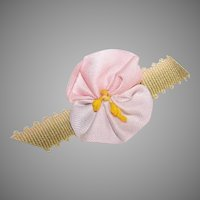 C.1950 AMERICAN Ribbon Rose - Pink, Pale Lavender & Olive Green!