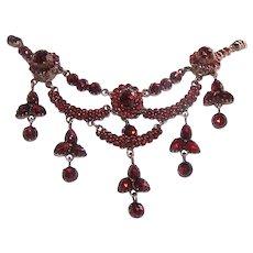 ANTIQUE VICTORIAN 9K Rose Gold & Bohemian Garnet Festoon Necklace!