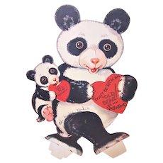 Large Vintage American Made Mechanical Valentine - Mama and Baby Panda Bear