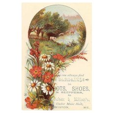 ANTIQUE VICTORIAN Trade Card for Boots, Shoes & Sippers at Melcher & Miller, ME.!