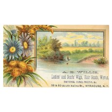 ANTIQUE VICTORIAN Trade Card for A.E. Willis Ladies & Gents Wigs, Hair Goods & Waves!