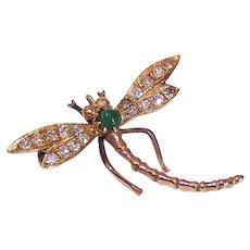 Art Nouveau 10K Gold Pin - Diamond, Green Tourmaline, Dragonfly, Insect, Brooch