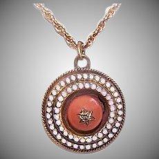 ANTIQUE VICTORIAN 9K Gold Pendant - Diamond, Star, Orange Coral, Enamel, Charm
