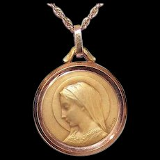 Art Deco FRENCH 18K Gold Religious Medal by Emile Dropsy - Holy Virgin Mary!