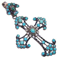 Austro Hungarian Silver Enamel Pearl Turquoise Cross Pendant